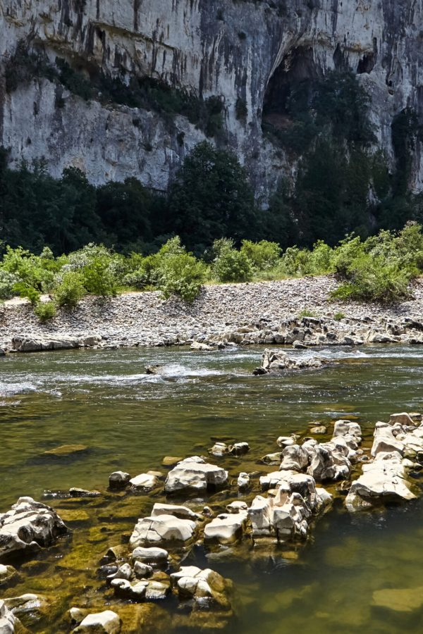 Rocky mountain river in the Ardeche Gorges, South France, Europe